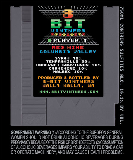 8-Bit Vintners Player 1 Red Wine Label