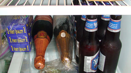 Sparkling wine in the refrigerator just waiting to be consumed.