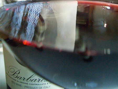 A glass of Barbaresco - one of Piedemont's famous wines.