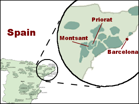 Map of the Spanish wine regions of Priorat and Montsant.