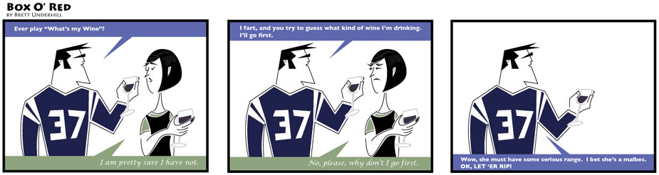 Wine comic: Guess what wine I'm drinking.