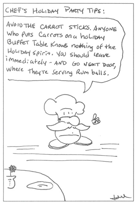 Wine comic: avoid carrot sticks at a holiday party.