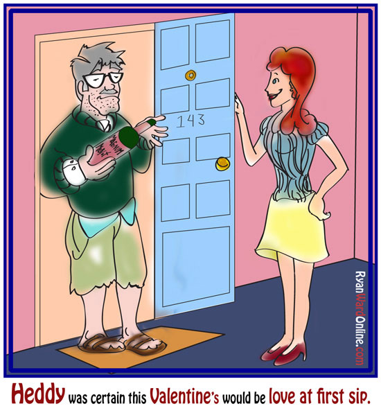 Wine comic: Magnums of wine for Valentine's day.