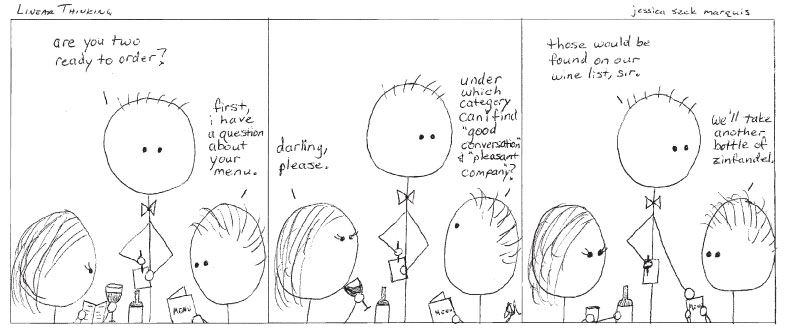 Cartoon: Wine is a social lubricant.