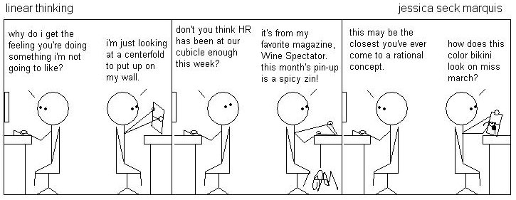 Cartoon: Wine and cubicles.
