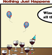 'Nothing Just Happens' Wine Cartoon Thumb